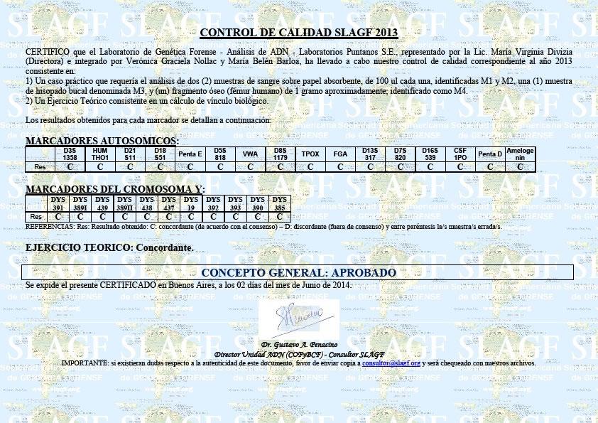 Certificado Internacional otorgado por la Sociedad Latinoamericana de Genética Forense